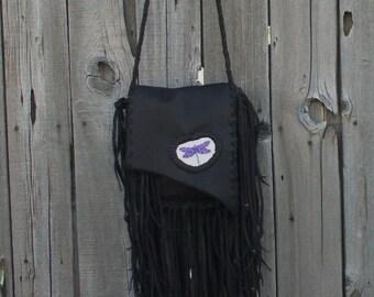 Purple dragonfly handbag , boho leather bag , fringed leather handbag , gypsy bags , crossbody handbag