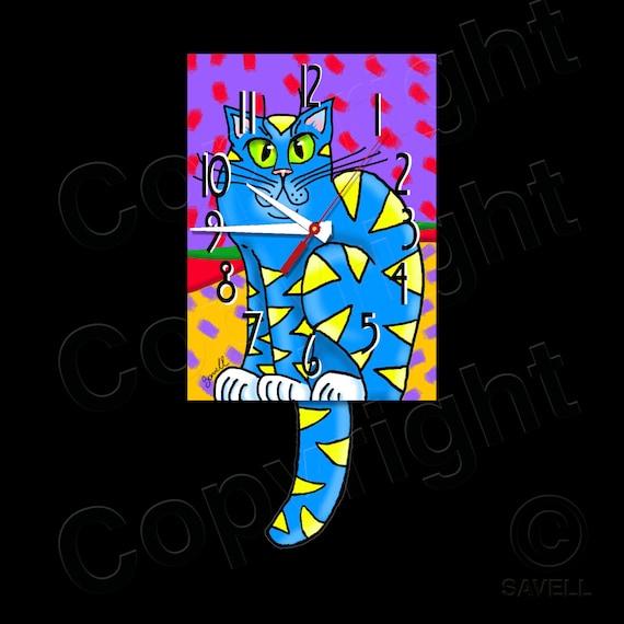 Cat Clock with Swinging Tail Pendulum • Kitty Cat Clock • Blue Cat