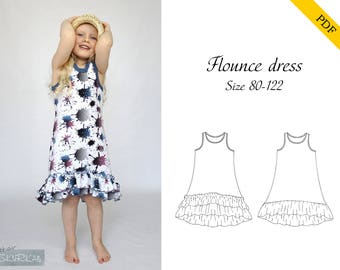 Flounce dress 80-122 PDF sewing pattern, instant download, tutorial