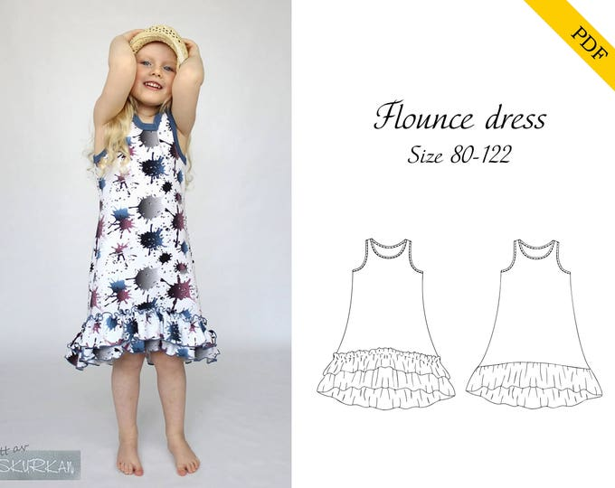 Flounce dress 80-122 PDF-pattern