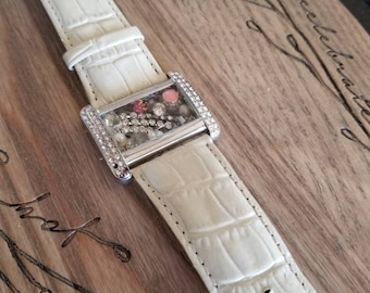 Jewelry collage watchband bracelet - pink, silver, and crystal