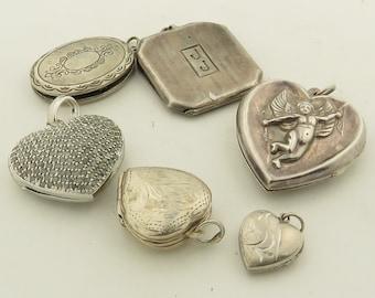 6 Vintage Sterling Silver Heart Open Lockets /6.