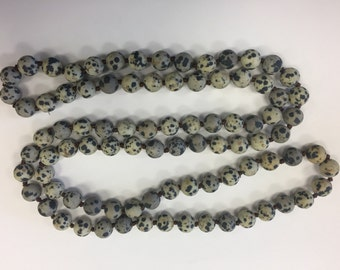 "Beaded knotted necklace, 8mm matte damatian jasper round beads, around 36"", 1 necklace,"