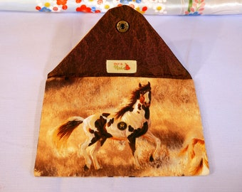 Envelope clutch - horses fabric