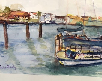 Original Pleineaire Watercolor of Harborside
