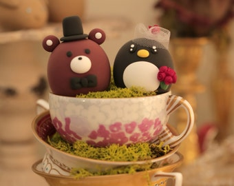 Penguin and bear  wedding cake topper