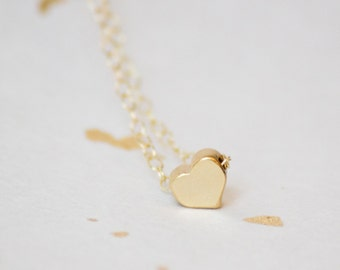 Solid Gold Heart Necklace, Heart Necklace, Solid Rose Gold Heart Necklace, Gold or Rose Gold Heart Necklace, Tiny Solid Gold Heart Necklace