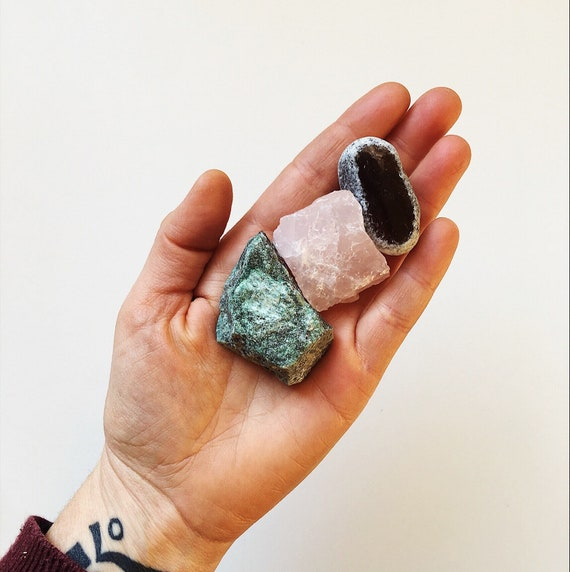 Mixed Raw Crystal Parcel - Green Fuchsite, Rose Quartz, Smokey Quartz Seer Stone