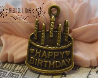set of 10 QKA027 happy birthday, birthday cake