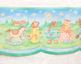 Nursery Wallpaper Border Animal Families in Pajamas Pastel Colors 5 Rolls Twinkle Twinkle Little Star