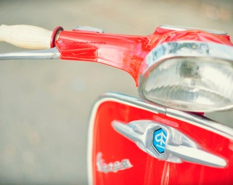 Italian Vespa in Red - Scooters motocycle old courtyard spring summer ride hot red for him for dad modern home decor red color photography
