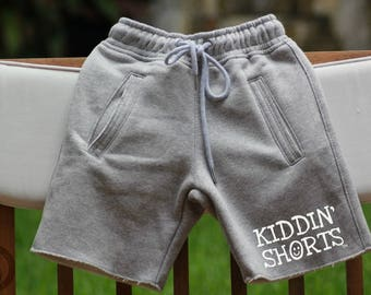 Kiddin' Shorts - Raw Edge, Comfy Shorts for Kids by Somethin' Comfy - Heather Gray