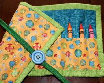 Crayon Holder, Crayon Roll, Crayon Tote, Crayon Roll Up, Marbles, Yellow, Blue, Green, Art Supplies, Boy, Gender Neutral, Children, Art