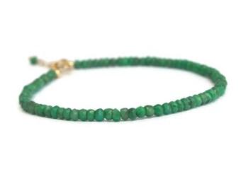 Gold emerald bracelet, stacking bracelet, genuine gemstone bracelet, emerald green bracelet, gift for her, emerald jewelry
