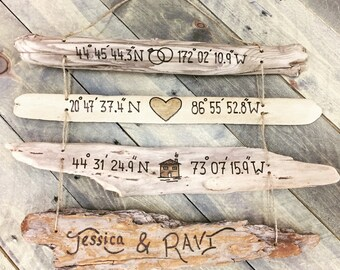 """Custom GPS Coordinates """"Our Story"""" Driftwood Collage - Gift for Couple Husband Wife Love Story New Home First Housewarming Anniversary Gift"""