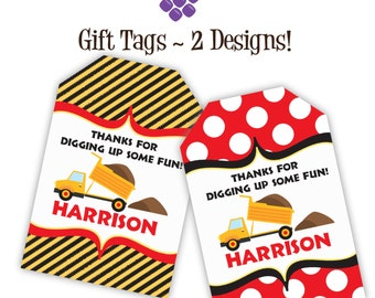 Construction Truck Gift Tags - Yellow Black Stripe, Red Polka Dot, Dump Truck Personalized Birthday Party Gift Tags - Digital Printable File