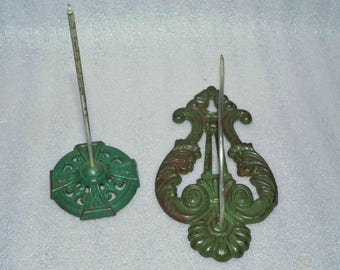 2 Green Ornate Metal Victorian Wall Bill Hooks Spikes Receipt Paper Desk Vintage