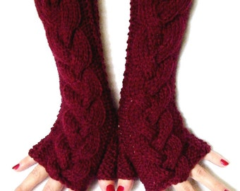 Fingerless Gloves Acrylic  Cabled  Wrist Warmers Burgundy  Extra Long and Soft