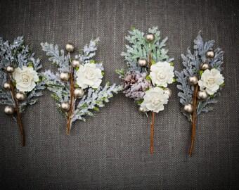 Rustic Sparkle Wedding Boutonniere