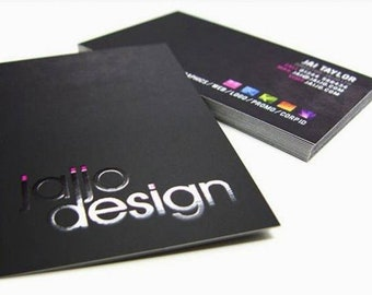 100 Business Cards - Raised ink - 16 PT suede velvet laminated stock  -  full color custom printed