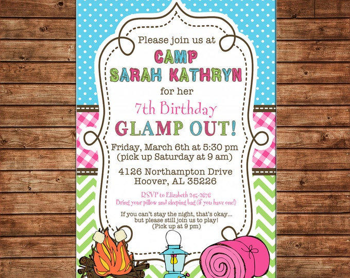 Girl Invitation Sleepover Glamping Camping Birthday Party - Can personalize colors /wording - Printable File or Printed Cards