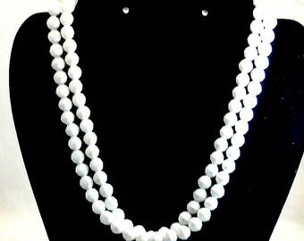 White Lucite Facet Bead Necklace Vintage Bead Necklace 36 Inch White Bead Necklace Costume Jewelry Free Shipping in USA