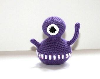 Hand crocheted purple Martian plush