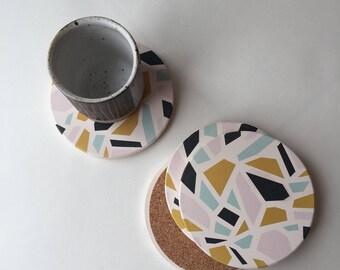 modern coasters, terrazzo coasters, absorbent stone coasters, absorbent coasters, geometric coasters, cork, hostess gift, housewarming gift