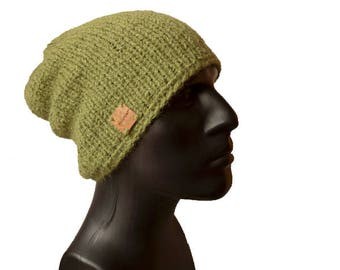 Mens Knit Hat, Mens Beanie Hat, Green Knitted Beanie, Mens Winter Hat, Men's Beanies, Warm Winter Hat, Olive Green Beanie Hat