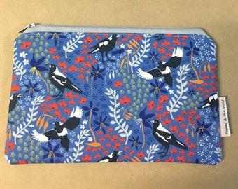 Magpie Butcher Bird Australia Native Bird Pencil Case / Make Up Bag