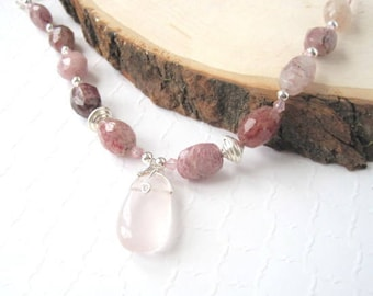 Strawberry Quartz Necklace, Beaded Gemstone Necklace, Pink and Silver Jewelry, Wire Wrapped Pendant, Sterling Silver Chain, Mothers Day Gift