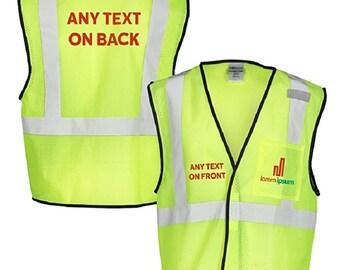 Custom Kamal Ohava Personalized Mesh Reflective Safety Vest w/ Logo, Lime