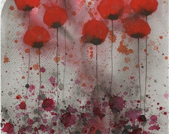 Watercolor Painting: Watercolor Flower Painting -- Art Print --  Candy-Coated Nightmare -- Red Flowers -- 8x10
