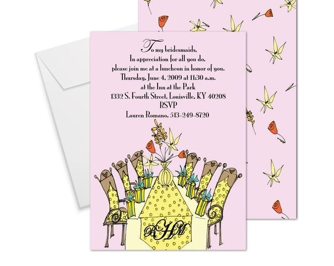 Yellow Luncheon Table Invitation