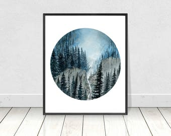Watercolor Round Blue Forest Painting Art Print- Circle Pine Trees Landscape Poster- Evergreen Trees Giclee Wall Art- Pine Tree Painting