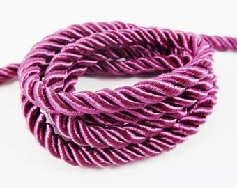 Purple Wine 5mm Twisted Rayon Satin Rope Silk Braid Cord - 3 Ply Twist - 1 meters - 1.09 Yards