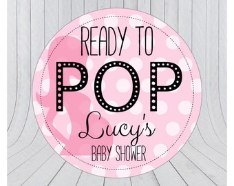 Ready to pop stickers, she's about to pop, baby shower stickers, baby shower favour, popcorn favour stickers, 007 - Pink