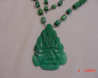 Vintage Mexico Green Onyx Pendant Necklace  17 - 638