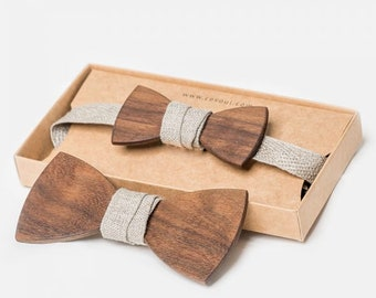 """Wooden Bow Tie """"National"""" - for Adults and Kids"""