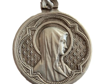 Virgin Mary - Jesus Christ - French Religious Medal Pendant By Penin Poncet