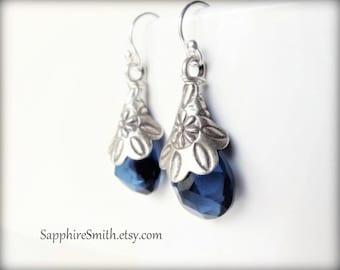 BLUE VELVET Kashmir Blue Quartz, Karen Hill Tribe Fine Silver Floral Embossed Earrings, gothic