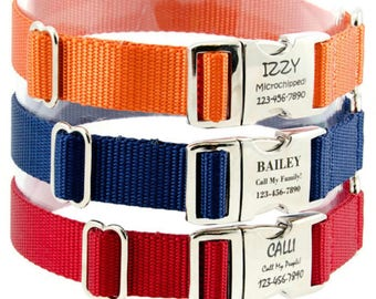 Fall Dog Collars with Laser Engraved Dog ID Tag Personalized With Your Info!  Perfect Gift for Dog Lover!  16 Colors! 3 Widths! 8 Sizes!