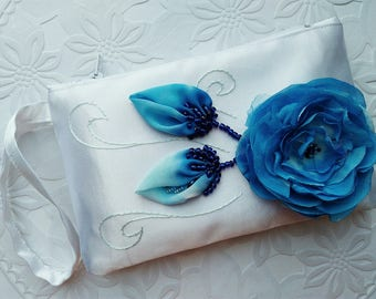 Navy blue bridal clutch Wedding purse bride Bridesmaid purse Wedding clutch Bride clutch Bridesmaid bag Clutch flower Blue wedding Pouch
