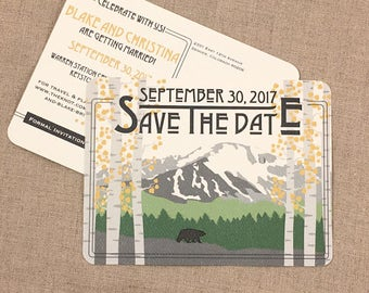 Pikes Peak Colorado Mountains with Yellow Birch Trees Save the Date Wedding postcards