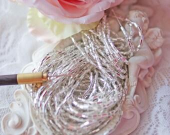 Bugle beads-Silver beads-Bead Strands- Czech beads