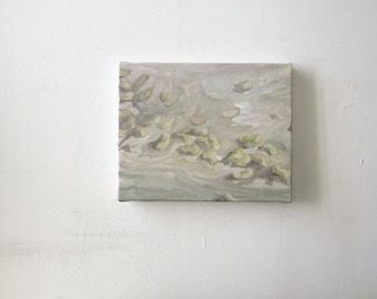Original minimalist art painting still life white beans