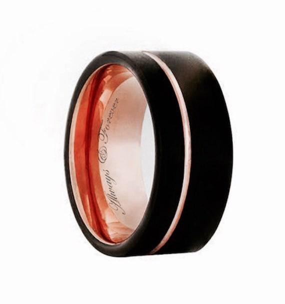 Black Rose Gold Tungsten Promise Ring Mens Rose Gold Wedding
