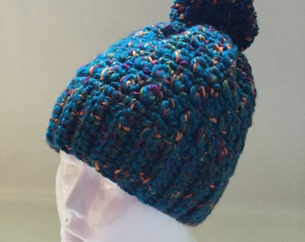 Hand Crocheted Teal with Jewel Tones Hat with Removable Pom Pom