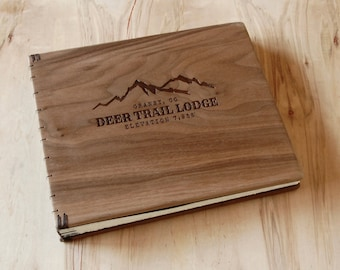 custom wood logo engraved  cabin or mountain home  guest book black walnut rustic  memorial book  retirement gift - made to order