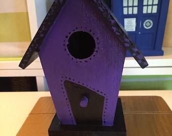 Gothic black and purple mini bird house